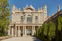 Facade and gardens of Queluz Palace in Sintra, Portugal during summer day