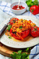 Plate of stuffed peppers.