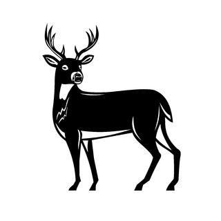 Whitetail Deer Side View Woodcut