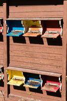 detail of a bee house with many colorful stocked bee hives