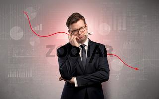 Sick businessman with decreasing performance concept