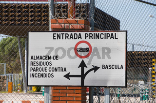 Sign indicating the control point and the waste storage facility at the entrance to the Alamaraz nuclear power plant