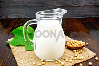 Milk soy in jug with beans on board