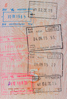 Passport with customs stamps