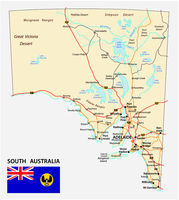 road map of the state South Australia with flag