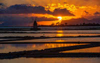 Marsala salt pans at sunset, Sicily, Italy