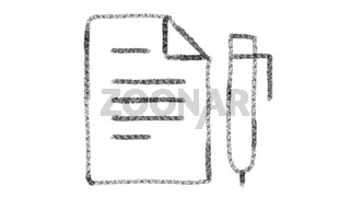 notebook and pen icon drawn with drawing style on chalkboard, animated footage ideal for compositing and motiongrafics