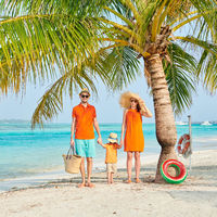 Family of three on beach under palm tree