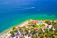 City of Zadar Puntamika lighthouse and beach aerial summer view