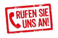 Red Stamp on a white background - Call us - Rufen Sie uns an (German)