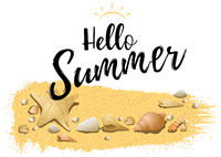 Hello Summer Design with Sand and Sea Shells