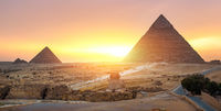 Sphinx in desert of Cairo