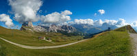 Panoramic view of Seceda peak, Odle mountain range, Gardena Valley, Dolomites, Italy