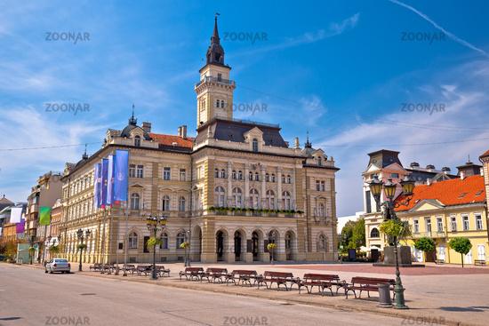 Freedom square in Novi Sad arches and architecture view