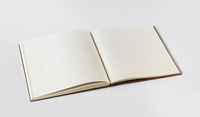 Open blank notebook isolated on grey