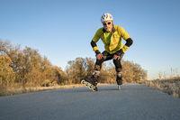Inline skating on a bike trail