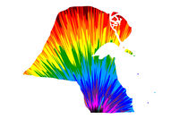 Kuwait - map is designed rainbow abstract colorful pattern, State of Kuwait map made of color explosion,