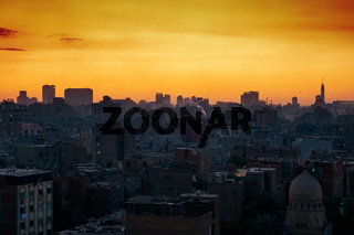 Cairo city Egypt with sunset sky
