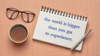 the world is bigger than you got to experience