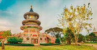 Wat Thaworn Wararam in Kanchanaburi, Thailand. Panorama