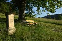 stone cross with bench and tree; swabian alps; Germany