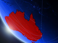 Australia from space with network