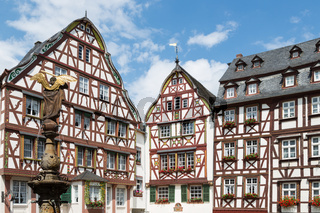 Houses and statue in medieval Bernkastel, Germany