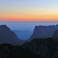 Valley named Justistal. Sunrise view from Mount Niederhorn. Mountain landscape in the Bernese Oberla
