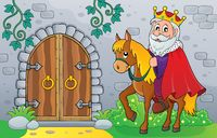 King on horse by old door theme image 1