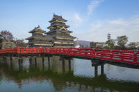 Blue nice sky with view of Matsumoto Castle in Nagano, Japan