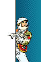 Girl woman astronaut. Point to copy space poster