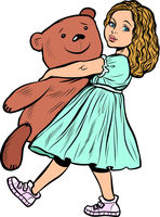 little girl and toy bear