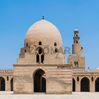 Ablution fountain and minaret of Ibn Tulun historic mosque, Cairo, Egypt