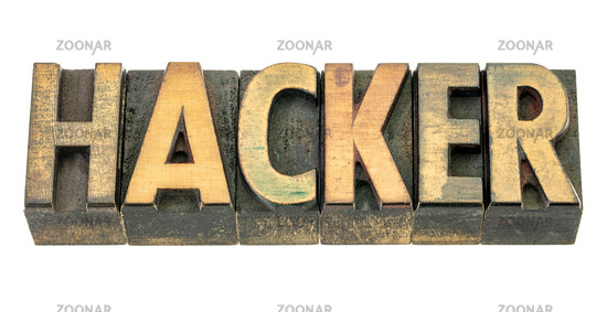 hacker word abstract in wood type