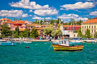 Town of Rovinj colorful waterfront and harbor view