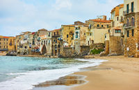 Old houses by the sea in Cefalu