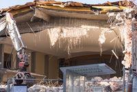 Demolition of a house - closeup house demolition