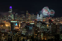Oakland and San Francisco Downtowns with New Year's Eve 2019 Fireworks