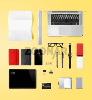 Office desk branding mockup top view isolated on yellow