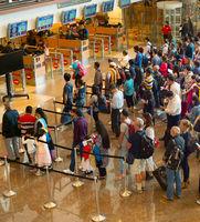 People Queue airport immigration Singapore