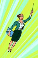 female teacher, superhero flying