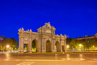 Madrid Spain, city skyline night at Puerta de Alcala