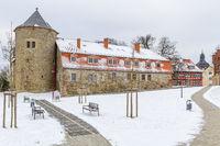 Harzgerode im Winter mit Blick auf das Schloss