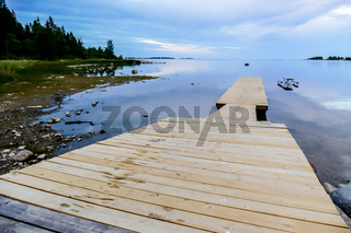 wooden pier on the lake, in Sweden Scandinavia North Europe