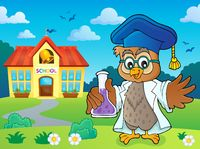 Owl teacher with chemical flask theme 4
