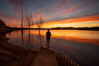 Lake  Jindabyne foreshore in Snowy Mountains region Australia