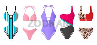 Set of women swimsuits, colorful bikini and monokini, beach clothes