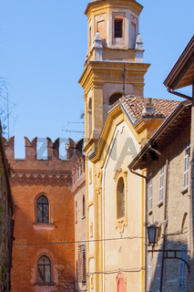 church and house medieval in the village of Arquato castle Piacenza Italy