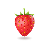Realistic sweet strawberry with green leaves, fresh red berrie, isolated on white background vector illustration.