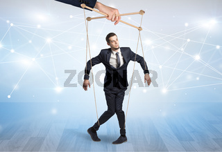Puppet businessman with financial concept